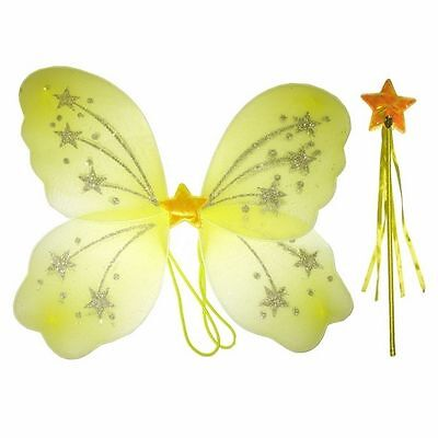 Glittery Star Yellow Fairy wing and wand set For All