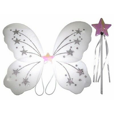 Glittery Star White Fairy wing and wand set For Real Fairy