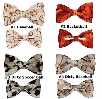 New Sport Clip On Cotton Bow Tie - Choose 1 ~ Basketball Baseball Soccer
