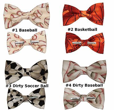 Sports Bow Tie - Choose 1 Clip On Cotton Bow Tie Basketball / Baseball / Soccer