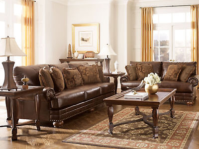 OXFORD - Traditional Brown Bonded Leather Sofa Couch Set Living Room Furniture