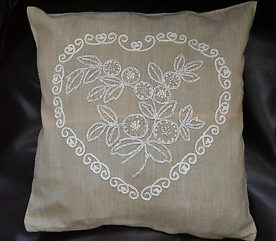 "Vintage Hand Embroidered Pillowcase "" Heart """