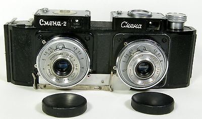 Smena-STEREO handmade 35mm stereo camera in working condition+2 caps