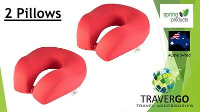 2 x Travel neck pillow- Memory Foam Cloth RED - Plane Train Car Or Bus and  bed