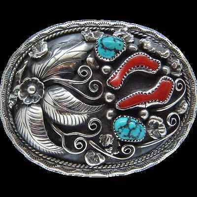 Sterling Silver Belt Buckle Kingman Turquoise Nuggets Coral Signed Albert McCabe