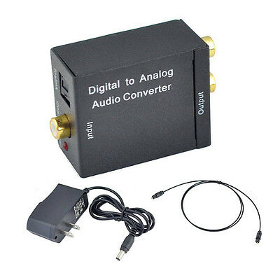 Digital Optical Coax Coaxial Toslink to Analog RCA R/L Audio Converter Adapter