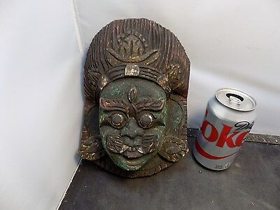 vintage Antique Hand Carved Asian  Mask with red seal