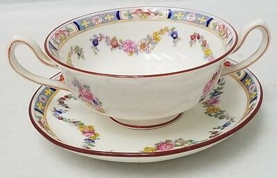MINTON china MINTON ROSE A4807 Cream Soup & Saucer Wreath Mark bowl Globe saucer