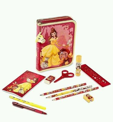 NWT Disney Store Princess Belle Stationary Art Kit Zip UP case School Supplies