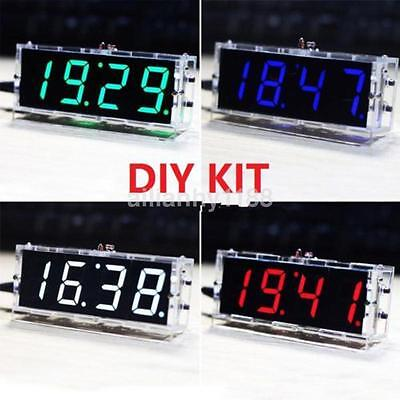 UK Electronic 4-digit DIY Digital LED Clock Kit Light Control Temperature Hot