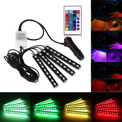 4x 9LED Car Interior Colorful RGB Atmosphere Floor Strip Lamp Remote Control