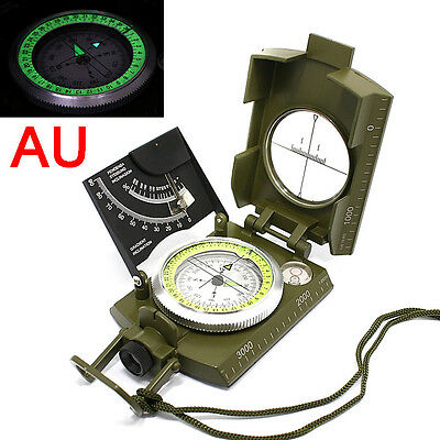 AU Professional Military Army Metal Sighting Compass Clinometer Camping Hiking
