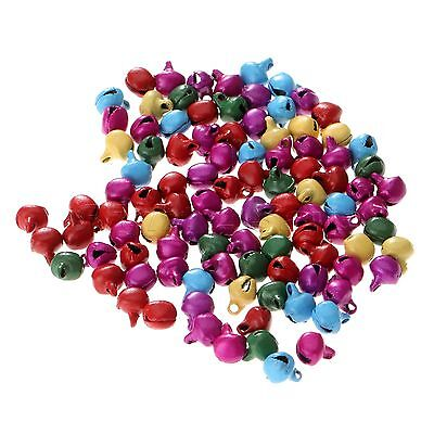 100pcs Iron Beads Jingle Bells Charms Christmas Pendants Decoration Random Color