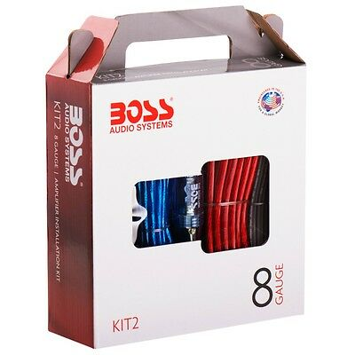 Kit Cavi Boss Kit-Due Kit2 Rca + Alimentazione X Amplificatore Stereo 8 Awg Auto