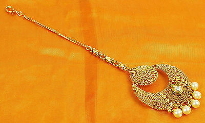 MT - 2226 Indian Hair & ForeHead Mang Tikka Gold Headpiece Pearl Chain Jewelry