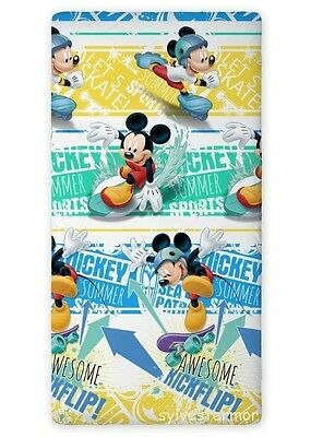 Disney MICKEY MOUSE SINGLE FITTED SHEET 90cm x 200cm 100% COTTON.