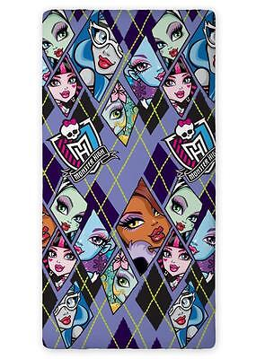 MONSTER HIGH 01 SINGLE FITTED SHEET 90cm x 200cm 100% COTTON