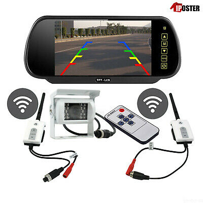 "Digital Wireless 7"" Rear View Mirror Monitor+White Reversing CCD Camera Caravan"