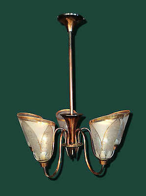 Stunning Large Art Deco French Vintage 5 Arm Copper Chandelier Light With Shades
