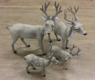 Deer Elk Lifelike Figurine Figure Grey Realistic Animal Christmas Decor