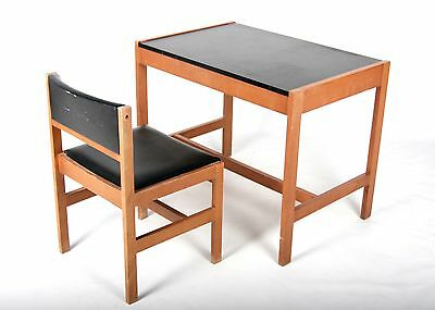 Vintage Danish Desk and Chair Teak Office Writing Table 1 of 3 1960s 70s MCM Ret