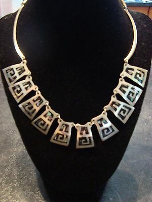 Mexico Sterling Silver & Abalone Link Necklace