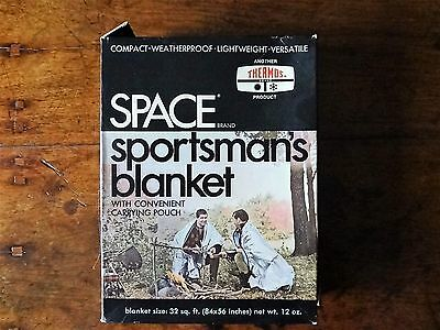 Vintage Nos Space Brand Thermos Space Emergency Blanket Sportsman W/carry Pouch+