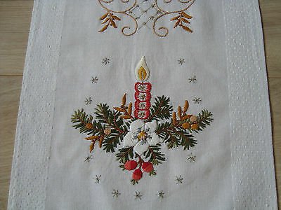 Vintage Christmas Hand – embroidered Table runner w/ Lovely Xmas fir branches