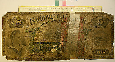 1888 Newfoundland  Chartered $5 Banknote - Commercial Bank - Lots Of Wear - Rare