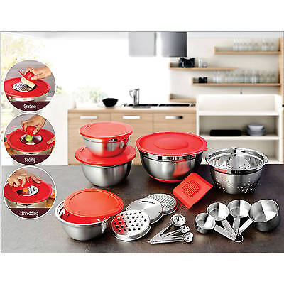 Better Homes and Garden 21-Piece Prep and Store Kitchen Set  (Red lids)