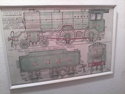 """1932 Locomotive Nr234 """"Yorkshire"""" L.N.E.R. """"SHIRE"""" class 2 1/2 GM picture signed"""