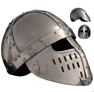Medieval Knight Helmet With Inner Leather Liner Of Ms  Au