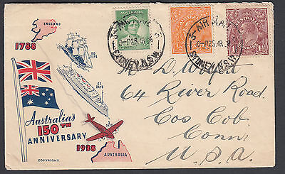 Australia - 1938 KGV Airmail cover to USA with Cache