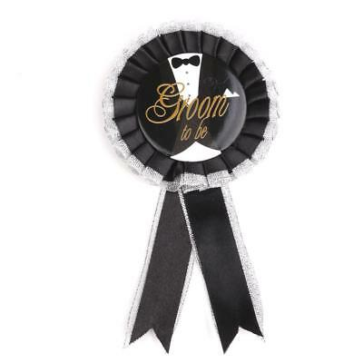 Bachelor Party Groom To Be Black Rosette Badge Brooch Stag Night Do Novelty