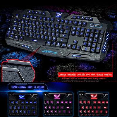 New 3 Colors Illuminated LED Backlight Professional USB Wired PC Gaming Keyboard