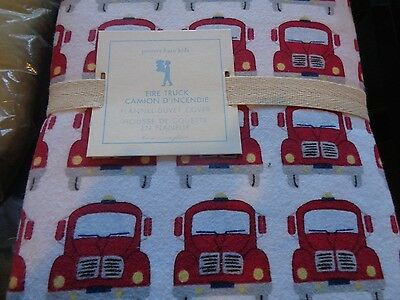 Pottery Barn Kids Firetruck fire truck flannel  twin duvet  New with tag