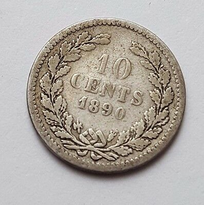 1890 - Silver - Netherlands - 10 Cents - Coin