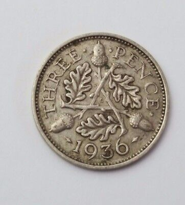 1936 - Silver - 3d Three Pence - Great Britain - King George V - English UK Coin