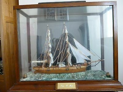 Hand - Built Welsh Sailing Ship In Glass Case.