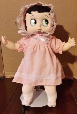 """1990 M Toys Betty Boop Baby Boop stuffed doll 10"""" with stand pink dress bonnet"""