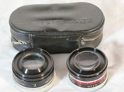 Petri Aux Telephoto And Wide Angle Lens In Case 1:1.8 45MM OR 1.9 4.5cm w/Caps