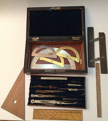 Antique Architect Engineer  Drafting Set In Wood Case