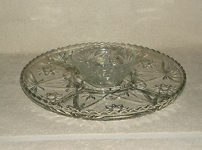"Early American Prescut EAPC 14"" Divided Serving Tray Scalloped Edge Center Bowl"
