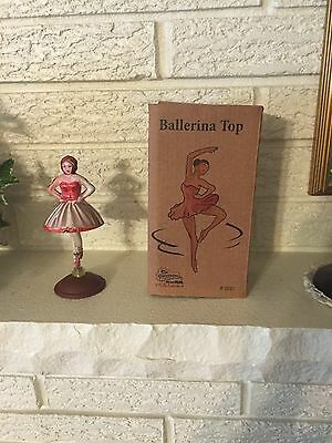 Bella Ballerina Spinning Tin Litho Toy Top spins in her pretty dress DL