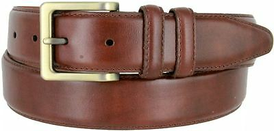 "Lejon Genuine Leather Plain Stitched Brown Dress Belt 1-1/4"" Wide Brass Buckle"