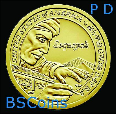 2017 P&D NATIVE AMERICAN Sequoyah Dollar 2 Coin set - In Stock - Ship TODAY!!