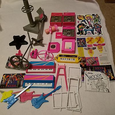 Barbie and the Rockers misc parts, instruments, stickers
