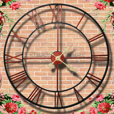 New Large Outdoor Garden Wall Clock Open Face Metal Large Big Roman Numerals Out
