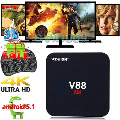 Lot 4K V88 Android 5.1 Quad Core 1G+8G Smart TV Box WIFI Fully Loaded+Keyboard
