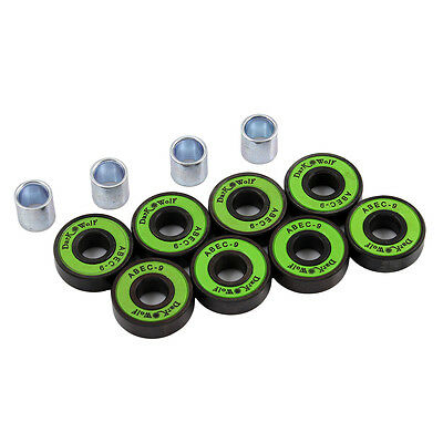 8Pcs Stainless Dark Wolf Skateboard Bearings ABEC-9 Speed with 4x Spacer Green